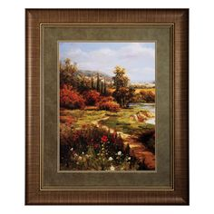 Feel the season in Steve Harveys Summer By Way I. Through the artists eye, walk along a stream and take in the back country surrundings. The colorful and inviting print of Summer By Way I landscape painting is matted in fern green, and framed in natural brown with a gold inner fillet.