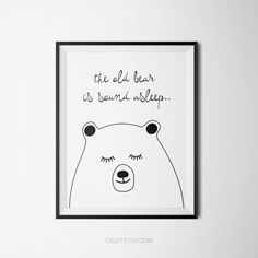 The old bear is sound asleep - #poster #etsy #kidroom