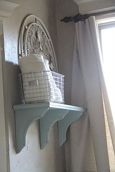 shelving idea for my bathroom! I see ugly ones at my goodwill all the time!! I'm going to do one for the boys bathroom.