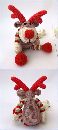 Crochet Amigurumi Reindeer Rudolf Free Pattern - Crochet Amigurumi Deer Toy Softies Free Patterns