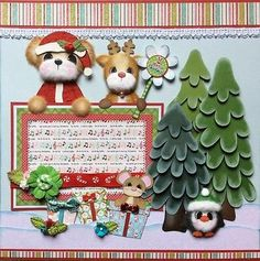 CHRISTMAS-Tear-Bear-Paper-Piecing-Premade-Layout-4-Album-ELITE4U-3paperwishes