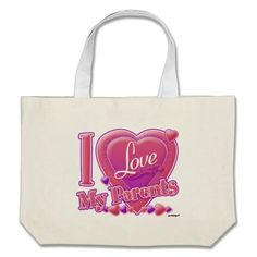 I Love My Parents pink/purple - heart Bag   •   This design is available on t-shirts, hats, mugs, buttons, key chains and much more   •   Please check out our others designs at: www.zazzle.com/ZuzusFunHouse*