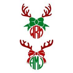 Reindeer Bow Antlers Monogram SVG Cuttable Frame