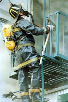 Classic 1970's & 80's fireman: long turnout coat & 3/4 rubber boots