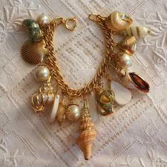 Vintage OOAK 24k goud gedimde Seashell door GypsyCoutureVintage