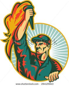 Illustration of a worker looking to the side holding up flaming torch viewed from front set inside circle with sunburst in the background done in retro style.