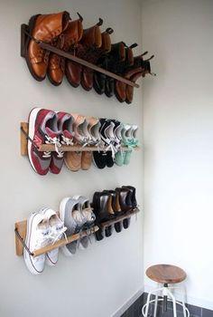 Shoe Storage Solutions, Diy Shoe Storage, Diy Shoe Rack, Diy Rack, Shoe Racks, Smart Storage, Shoe Storage Ideas By Front Door, Wall Storage, Wardrobe Storage