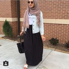 Maxi skirt hijab outfit-Street fashion style – Just Trendy Girls
