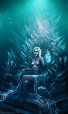 Elsa the Snow Queen in a throne art