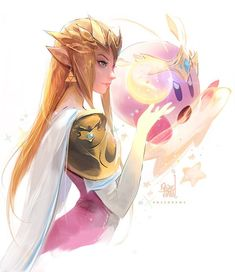 Ross Tran - Zelda and Kirby 💫 The new Smash is super fun and I got inspired to paint another duo! I've been playing World of Light in Hard modeee which at times seems IMPOSSIBLE haha. Hope you enjoy it, which two should I draw together next? Super Smash Bros, Ross Draws, Game Character, Character Design, Jagodibuja Comics, Witcher Wallpaper, Princesa Zelda, Pokemon, Legend Of Zelda Breath
