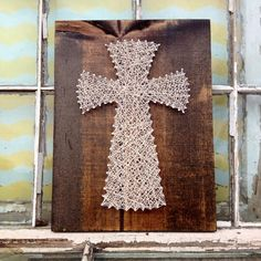 String Art Cross in Natural Color String on Dark Stained Wood