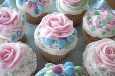 Cupcakes decorated by little girls at a birthday party