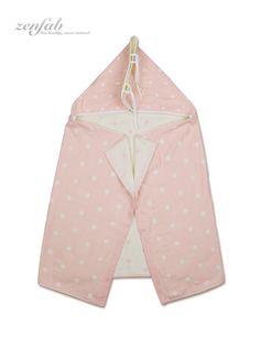草本染有機棉連帽包巾 - 粉紅