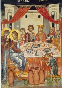 Icon of The Wedding In Cana. Jesus' first miracle when He turned water into wine. Scripture: John 2:1-11