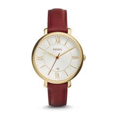 Jacqueline Maroon Leather Watch