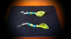 Beaded Blue and Lime Earrings by TKDShop on Etsy, $7.99