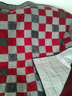 Upcycled wool with flannel back quilt