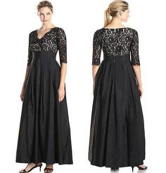 Black Long Maxi V lace Satin Formal Evening Cocktail Party Dress Plus Size 18W