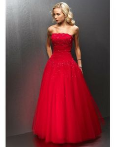 Strapless A Line Floor Length Applique Tulle Beading Red Ball Gown Quinceanera Dress