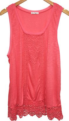 $36 Crochet Trim Knit Tank Top
