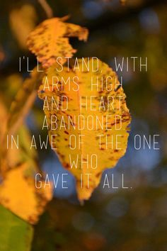I'll stand with arms high and heart abandoned in awe of the one who gave it all. I love this song. :)