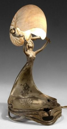 Gustav Gurschner Art Nouveau figural lamp and tray, nautilus shell shade, signed, tin plated, 32 cm H.