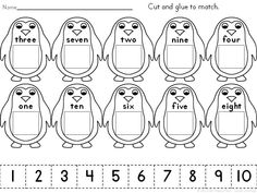 Cut and Glue Penguins-Match Numerals to Number Words Penguins! Kindergarten and…