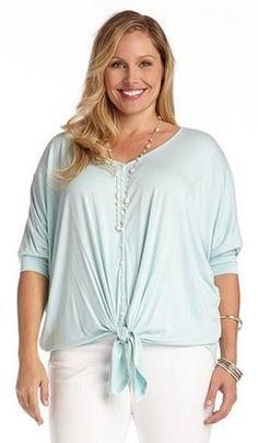 Plus Size Fashion Aqua Button Tie Front Dolman Sleeves Top #Karen_Kane #Aqua #Blouse #Plus_Size #Fashion #KarenKane