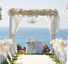 Wedding arch - white flowers, wood arch, fabric, ocean background - <3