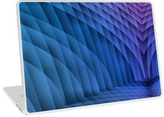 Geometric Path Blue-Pink Laptop Skins by Terrella.  An abstract image resembling a tiled or paved pathway with sweeping walls on each side.  The colors change from blue to pink with light and dark areas. • Also buy this artwork on phone cases, apparel, home decor, and more.