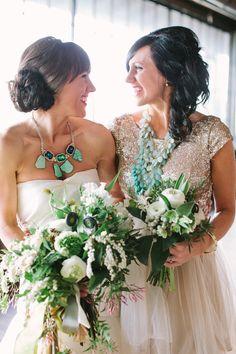bride + bridesmaid, wedding style, floral bouquet, green; photo: Haley Sheffield. Bouquets by Gertie Mae's Floral Studio #emerald