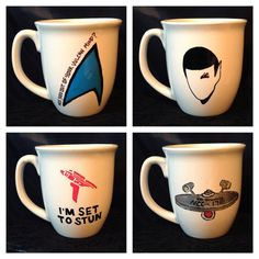 Star Trek inspired coffee mug set by KynasKreations on Etsy, $20.00
