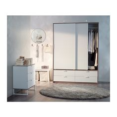 TRYSIL Wardrobe w sliding doors/4 drawers - white/light grey - IKEA