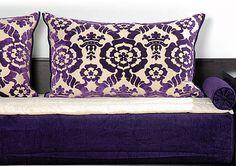 Tissus Houria Aubergine > Royale | Salon Marocain RICHBOND, le specialiste des salons marocains et du meuble au Maroc