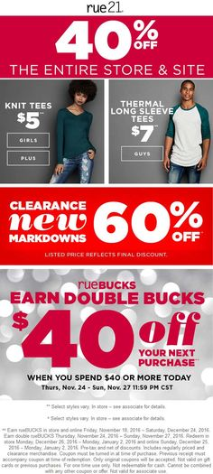 Pinned November 24th: 40% off everything + $40 store bucks on $40 spent + 60% off clearance at rue21 ditto online #TheCouponsApp