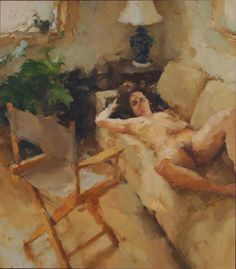 "Jordan Wolfson ""Interior with Woman and Chair "", 2005, oil on linen, 48""x42"""