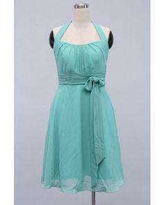 Jade A-line Halter Knee-length Chiffon Short Bridesmaid Dress | LynnBridal.com