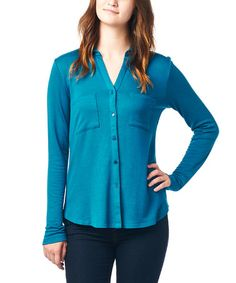 Another great find on #zulily! Hunter Green Button-Up Notch Neck Top by tresics #zulilyfinds