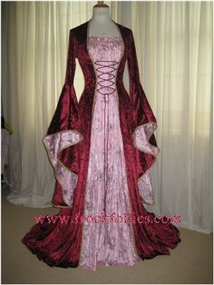 Chloe, a Renaissance,Elvish, Pagan Wedding or Hand Fasting Dress in Burgundy and Pink. and other apparel, accessories and trends. Browse and shop 8 related looks. Renaissance Mode, Renaissance Dresses, Renaissance Fashion, Renaissance Wedding, Medieval Costume, Medieval Dress, Medieval Clothing, Elvish Dress, Pagan Wedding