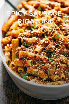 SPICY SAUSAGE RIGATONI There are some times when you just need to find a way to get some spicy Italian sausage in your life. Introducing: Spicy sausage rigatoni a wholesome and easy dinner. My whole family loved it! 320 calories of REAL food. Ingredients