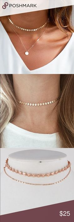 ❕COMING SOON- Rose Gold Layered Choker Necklace Sexy rose gold round shape thin layered choker with adjustable sizing.  Color / style is best shown in 1st picture.  Measurements: 12 approx. ••• FAST SHIPPING- most shipments are dropped at the post office within a few hours of purchase.••• No trades &a firm on price unless bundled (15% off two or more items). Jewelry Necklaces