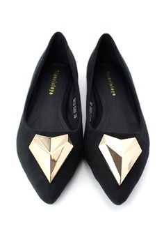 Flat Shoes with Diamond Metal Toe Cap in Black #Chicwish