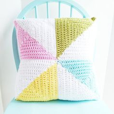 Crochet Pinwheel Pillow Cover -  18 inches