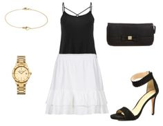 Black top+white ruffled skirt+black ankle strap heeled sandals+black clutch+gold watch+gold necklace. Summer evening outfit 2016