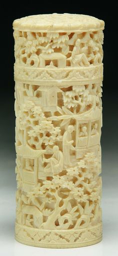 """A Chinese Antique Ivory Carved Box With Cover: finely carved continuously in relief around the body and cover with typical figural landscape, of Qing Dynasty. Provenance: Christie's  Dimensions: H: 5"""""""