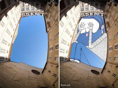 Thomas Lamadieu has been drawing in the space between buildings for his new series, SkyArt, and hes making us all look up again. Open spaces of blue sky replaced with drawn characters stuffed amongst the architecture. Whats not to love?