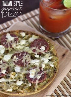 Italian-style gourmet pizza served with a sriracha bloody Mary