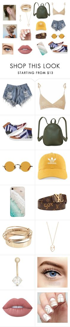 """""""Summertime cool"""" by kimbear19 ❤ liked on Polyvore featuring Humble Chic, Hakusan, adidas, Gray Malin, Supreme, Valentino, Amber Sceats, Gioelli and Lime Crime"""