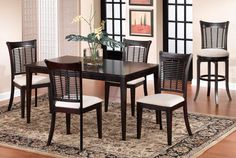 Hillsdale Furniture Bayberry 5 Piece Dark Cherry Rectangle Dining Set - The Home Depot Wicker Dining Chairs, Dining Chair Set, Dining Room Furniture, Rectangle Dining Table, Dining Table In Kitchen, Dining Tables, Banquette Dining, Small Dining, Hillsdale Furniture