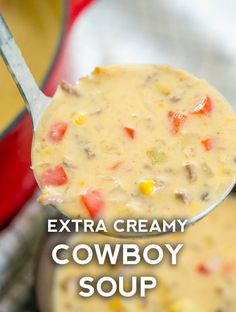 Extra Creamy Cowboy Soup - - Extra Creamy Cowboy Soup Soup Recipes Cowboy Soup entails some classic southwestern flavors and making sure it's stuffed to the brim with ingredients that will fill you up and keep you full long after you leave the table. Beef Soup Recipes, Healthy Soup Recipes, Ground Beef Recipes, Quick Soup Recipes, Chowder Recipes, Dinner Recipes, Cream Soup Recipes, Mexican Soup Recipes, Chicken Recipes